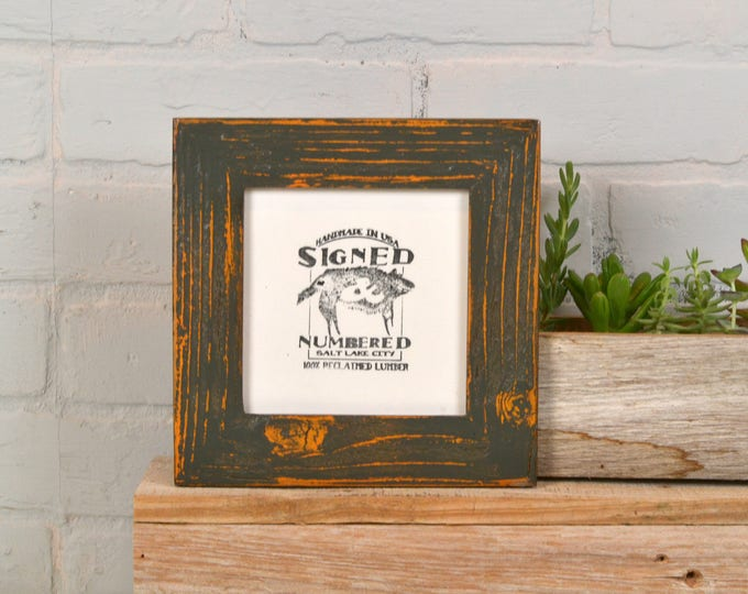 """5x5"""" Square Picture Frame in Reclaimed Cedar with Super Vintage Orange under Sable Finish - IN STOCK - Same Day Shipping - 5 x 5 Reclaimed"""
