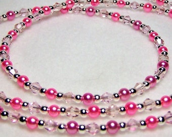 Pink Crystal Eyeglass Chain, Eyeglass Holder, Eyeglass Lanyard, Eyeglass Leash