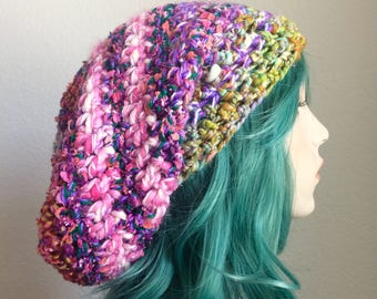 Dreadlock Hat - extra slouchy, handspun wool with sparkle, pinks and purples - one of a kind!
