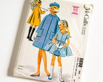 Vintage 1960s Girls Size 8 Dress and Coat McCalls Sewing Pattern 6698 Complete / b26 w23 / Designed by Helen Lee