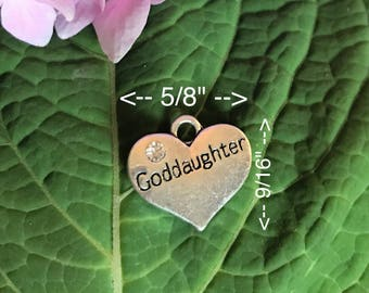 Add-On Silver Goddaughter Heart Charm Rhinestone