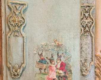 Altered Chalk Paint Decorative Book Clay Applique Victorian Scrap French Country Weddi g Bluecreekhome
