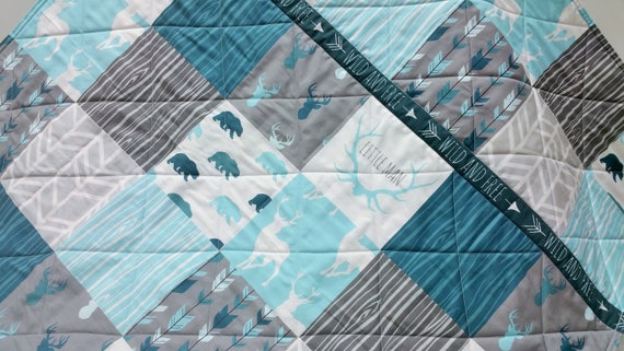 Woodland Baby Boy Quilt Blue Rustic Nursery Gray Bedding