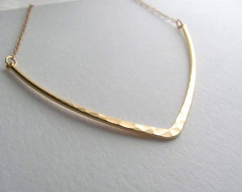 Golden triangle bib necklace, 14k gold plate chain, boho necklace, hammered V, bohemian jewelry, handmade