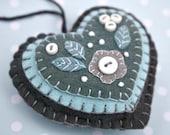 CIJ Sale, Felt Christmas ornament, Blue and grey heart Christmas ornament, Christmas ornament, Felt heart ornament, Heart Christmas ornament