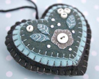 Sale*  Felt Christmas ornament, Blue and grey heart Christmas ornament, Christmas ornament, Felt heart ornament, Heart Christmas ornament