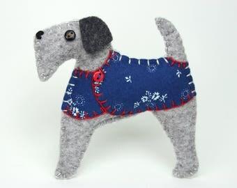 Felt Christmas ornament, Felt dog ornament, Dog Christmas Ornament, Handmade felt Airedale terrier, Fox terrier, Terrier ornament, Fred