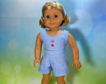 18 inch doll clothes, Three Piece Outfit, Blue Striped Top, Shorts and Headband, 05-2103
