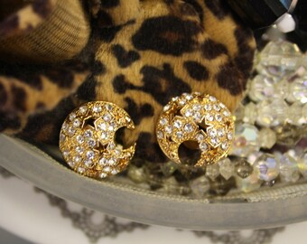 Vintage crescent moon shaped diamante detailed clip on earrings