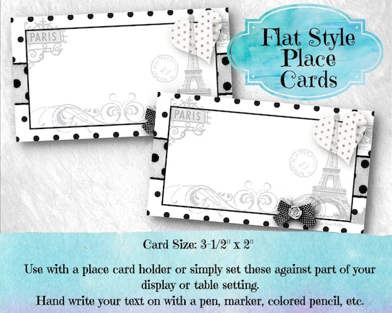 10 Flat Style Place Cards Name Cards Buffet Food Labels Bridal