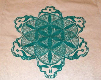 T-Shirt - Stealie of Life (Green on Sand)