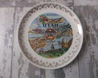 Vintage Utah Souvenir State Plate Small Gold Filigree Border Decorative Collector Travel Vacation Retro Wall Decor 7.25""