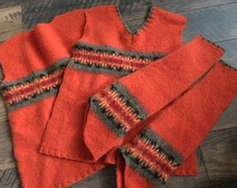 Felted Lambswool Sweater Remnants Orange Recycled Lambs Wool Material Fabric Sewing Crafts Fall Mittens Upcycled