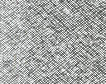"Half Yard 108"" Widescreen in Black by Carolyn Friedlander for Robert Kaufman (wide back, 108 inches, sketch, architextures, cross hatch)"