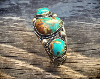 46g Signed Navajo Jewelry Turquoise Cuff Bracelet, Vintage Native American Indian Turquoise Jewelry