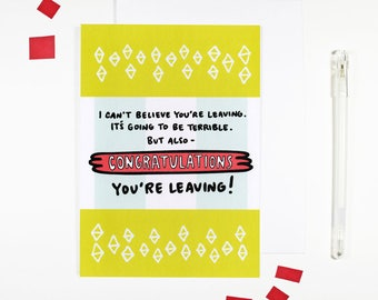 Congratulations You're Leaving Card New Job Card