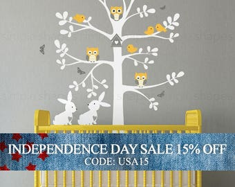 Independence Day Sale - Wall Decal Nursery, Tree wall decal, Tree with animals, Easter Bunny Decal - Owl Rabbit Bird Tree Wall Decal - W1123