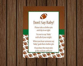 Football Don't Say Baby Game, Football Clothes Pin Game, Football Baby Shower, Boy Baby Shower, Baby Shower Games, Sports Baby Shower