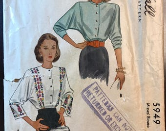 McCall 1940's Misses' Glamourous Dolman Sleeve Blouse Pattern # 5949 - 1945 - Border Prints -Size 16, Bust 34