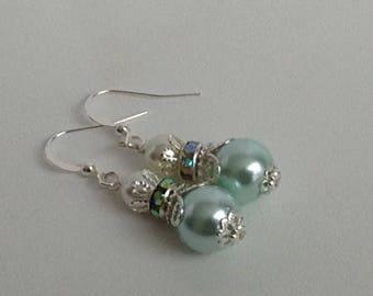Pale Ivory and Aqua Pearl Bridal Bridesmaid Earrings