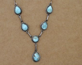 VINTAGE FIND vintage sterling silver blue Larimar necklace