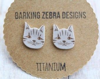 Cat Stud Earrings | Cat Studs | Cat Earrings | Cat Jewelry | Cat Gift | Titanium Stud Earrings | Hypoallergenic