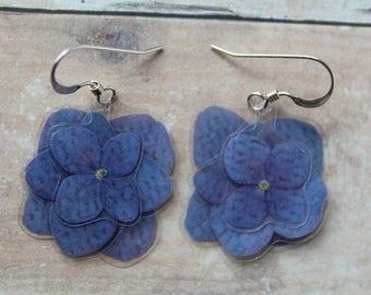 Dark Blue Layered Hydrangea Earrings - Real Dangle Flower Earrings - Sterling Silver Hooks - Hydrangea Jewelry - Bridesmaids Gifts