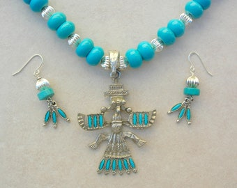 Native North American Thunderbird Pendant, Turquoise Howlite & Silver Beads, Matching Real Turquoise Earrings, Necklace Set by SandraDesigns