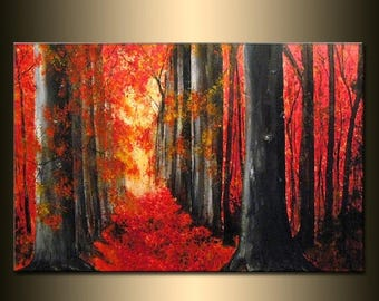 Original LANDSCAPE PAINTING Autumn Trees Pathway Autumn Day Gallery Fine Art By Henry Parsinia Ready To Hang 36""