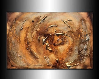 Modern Painting Texture Metallic Abstract Contemporary Canvas Art By Henry Parsinia 36x24