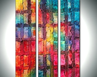 Original Modern Textured Colorful Multipaneled Abstract Painting On Canvas by Henry Parsinia Ready To Hang