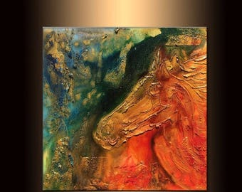 Original Modern Textured Metallic Abstract Horse Painting by Henry Parsinia 24x24