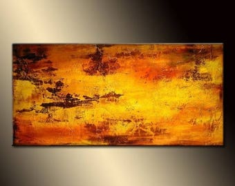 ORIGINAL Abstract Painting Contemporary  Art by Henry Parsinia Large 48x24
