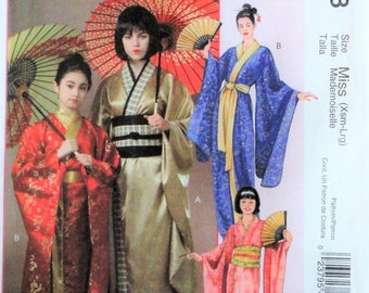 """Misses Kimono pattern, McCalls 4953 M4953 misses sizes X small - large bust 29"""" to 40"""", uncut new, sewing pattern Halloween Japanese costume"""