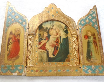 Vintage Triptych Italian Florentine Gilt Boticelli Madonna and Child