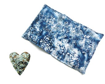 Hot or cold pack, Christmas gift, microwavable, aromatherapy, microwave heat pack, blue, freezer cold pack, flax seed rice lavender buds