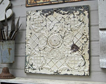 Ceiling Tin Tile, Antique  FRAMED 2'x2' Pressed tin tile, Chippy old original paint, Vintage embossed metal wall decor.