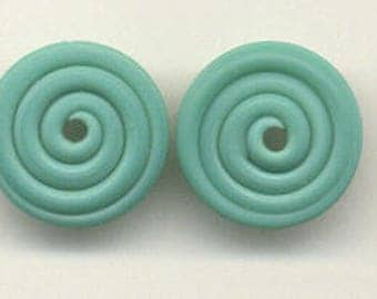 16mm range, Tom's lampwork satin (etched) frosted celadon green disc beads, 2 beads, 1 pair, 95760-2
