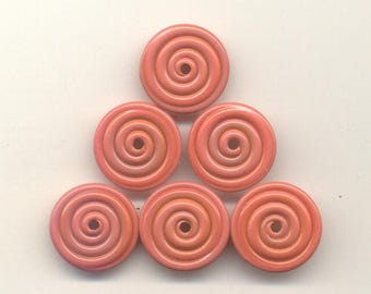 16, 17, 18mm range, Tom's lampwork opaque  persimmon coral 2 disc spacer/drop set, 1 pair  95710-1B