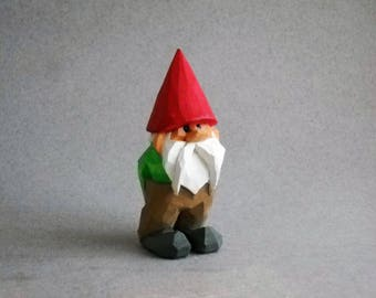 Wood carved garden gnome  #83