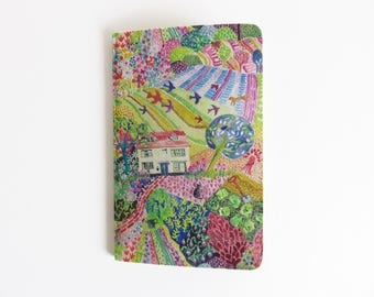 Liberty Lawn 'Royal Oak House' Fabric Cover Moleskine Cahier Pocket Notebook