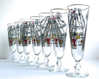 Vintage Pilsner Glasses Libbey Pirate Drinking Glasses Mid Century Barware
