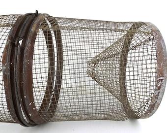 metal fish trap. vintage fish basket. minnow trap. vintage fish trap. vintage minnow trap. metal basket. fishing equipment. cabin home decor