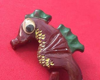 Artisan bakelite seahorse pin