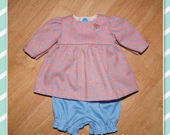 12 - 14 inch Baby Doll Clothes - Dress and Pants - Dusty Rose with Blue Flowers - Blue Pants