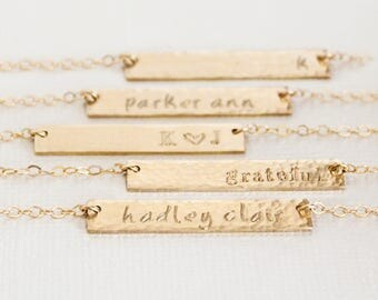 Gold Filled Name Necklace, Custom Name Bar Necklace, Nameplate Necklace, Horiztonal Bar, Hand Stamped Personalized Jewelry