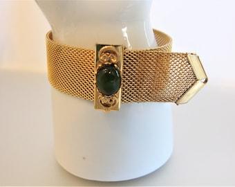 Vintage Jade Gold Tone Mesh Bracelet