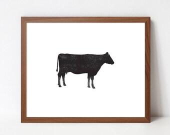 Cow Ink Texture Art, Black and White PRINTABLE Nursery Art, Kitchen Art, Instant Download Print, Black & White, Minimal Art, Modern Art