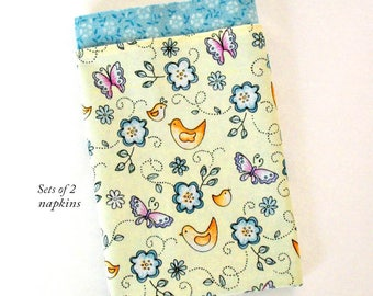 Cloth Dinner Napkins 18 Inch Double Sided Set of 2 Large Fabric Table Napkins Birds Flowers