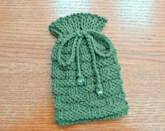 Small Drawstring Pouch, Knitted Gift Bag, Small Drawstring Bag, Jewelry Bag for Travel, Small Knit Pouch